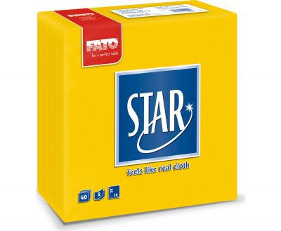 PAPER NAPKINS, 38x38, STAR, YELLOW (40 pieces)