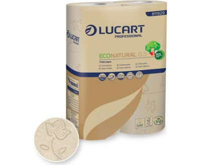 SMALL ROLL TOILET PAPER, NATURAL LUCART 3 LAYERS (6 rolls)